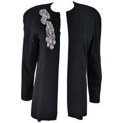 CAROLYN ROEHM Black Knit Wool Jacket with Rhinestone Applique Size 6-10
