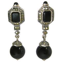 Onyx Marcasite Sterling Silver Vintage Earrings