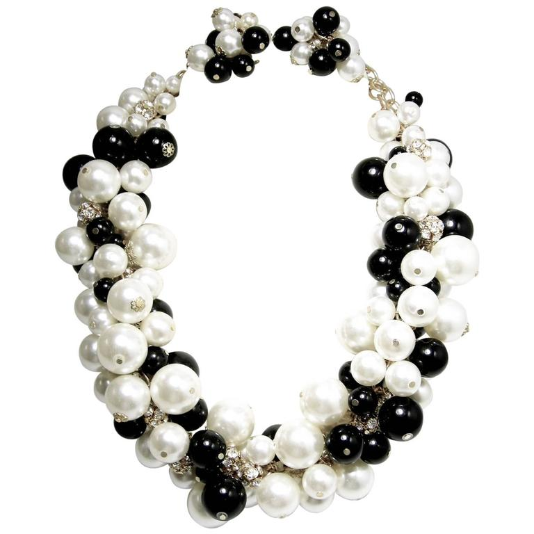 pearl necklace bib p black with resin double alternative htm faux strand pearls views