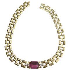 Vintage Pierre Cardin Faux Amethyst Choker Necklace