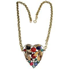 Vintage Art Deco 30s Czech Multi-Color Heart Pendant Necklace