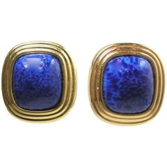 Vintage  Christian Dior Faux Lapis Earrings