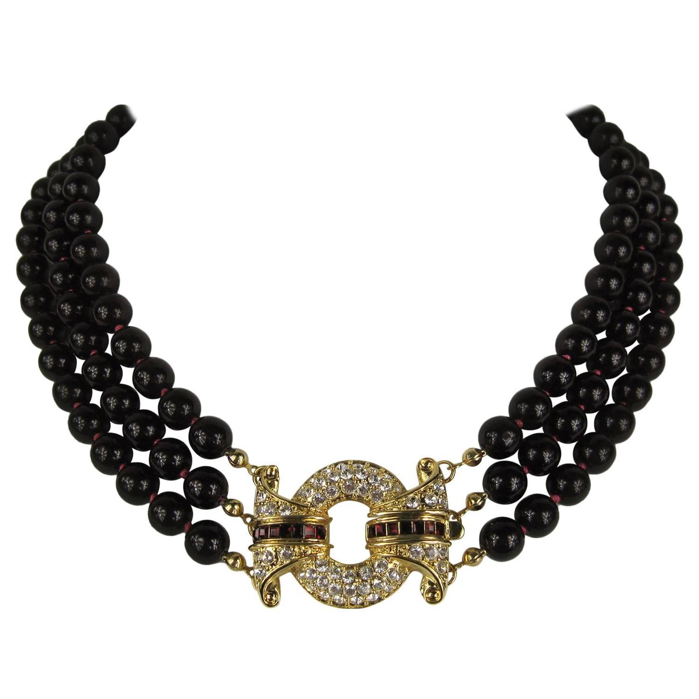 vintage 1980s nolan miller 3 strand necklace for