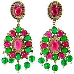Important Vintage 60s K.J.L. Kenneth Jay Lane Poured Glass Earrings