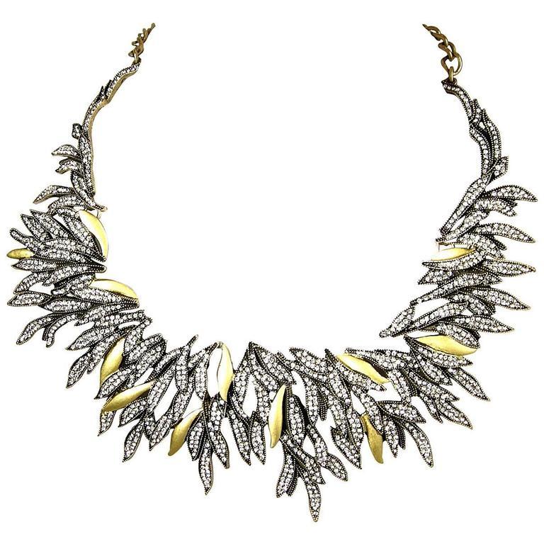 Oscar De La Renta Runway Cascading Crystal Leaf Necklace For Sale