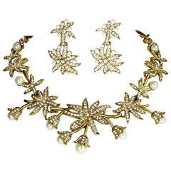 Oscar de la Renta Pearl Flower Necklace Set