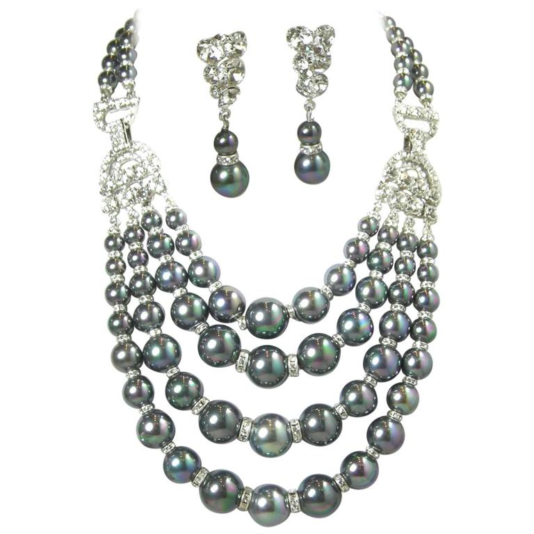 One-Of-A-Kind Robert Sorrell Tahitian Pearl and Crystal Necklace Set For Sale