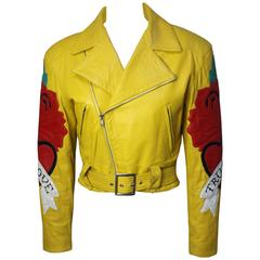 1980s Michael Hoban North Beach Leather Yellow Moto Jacket, True Love Collection
