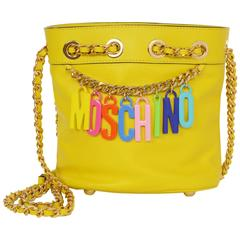 Moschino SOLD OUT Yellow Charm Bucket Crossbody Bag GHW
