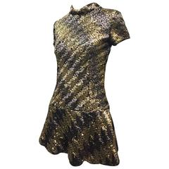 1960s Pat Sandler Silver and Gold Sequin Micro Mini Dress