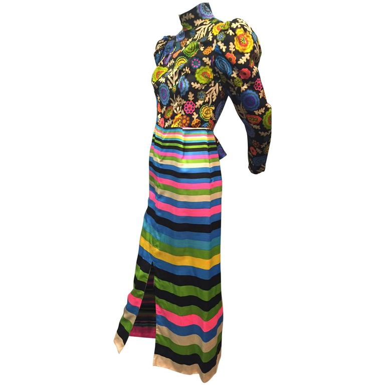 1960s Lanvin Polished Cotton Maxi in Vivid Stripes and Florals 2