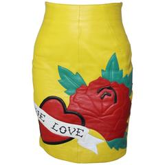 1980s Michael Hoban North Beach Leather Yellow Skirt, True Love Collection