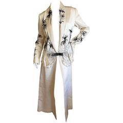 Christian Dior by Gianfranco Ferre White Hammered Silk Beaded Evening Coat