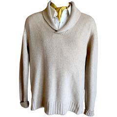Loro Piana Gentlemans Baby Cashmere Shawl Collar Sweater