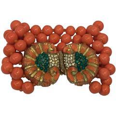 1960s Mimi Di N Coral Glass Multistrand Bead Bracelet w/ Shell Motif Clasp