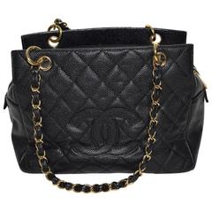 Authentic Chanel Petite Timeless Shopping Tote Caviar