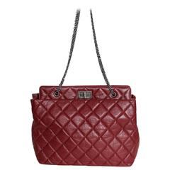 Chanel Grand Shopping Medium Tote Red w/ aged Leather bag.