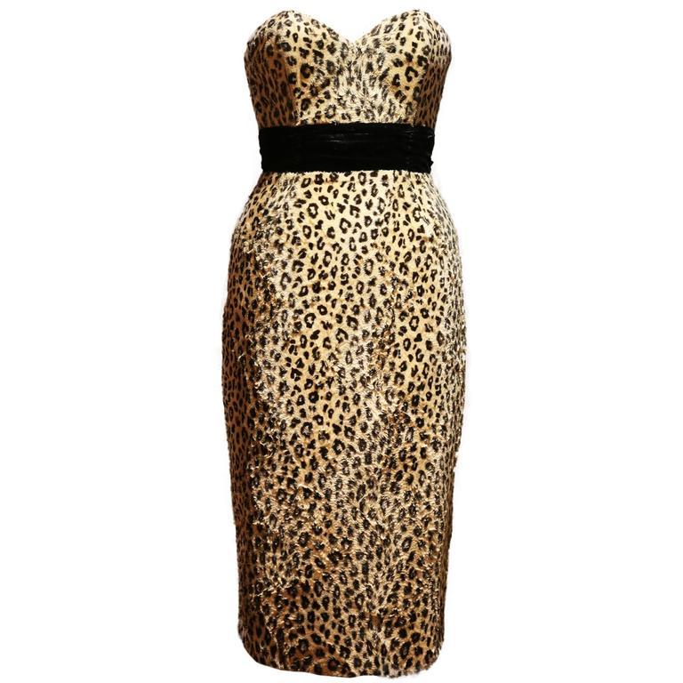 Caroline Walker leopard print strapless pin-up dress 1