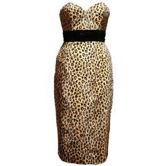 Caroline Walker leopard print strapless pin-up dress
