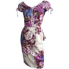 CEIL CHAPMAN Floral Print Cocktail Dress with Corset Bodice