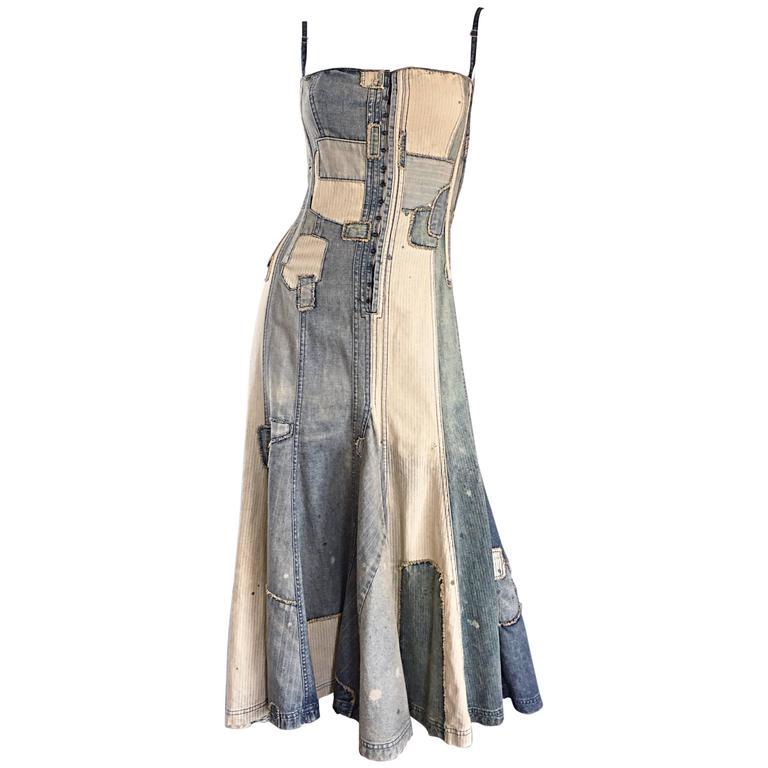 Rare Ralph Lauren ' Blue Label ' 1990s Patchwork Distressed Denim Corset Dress 1