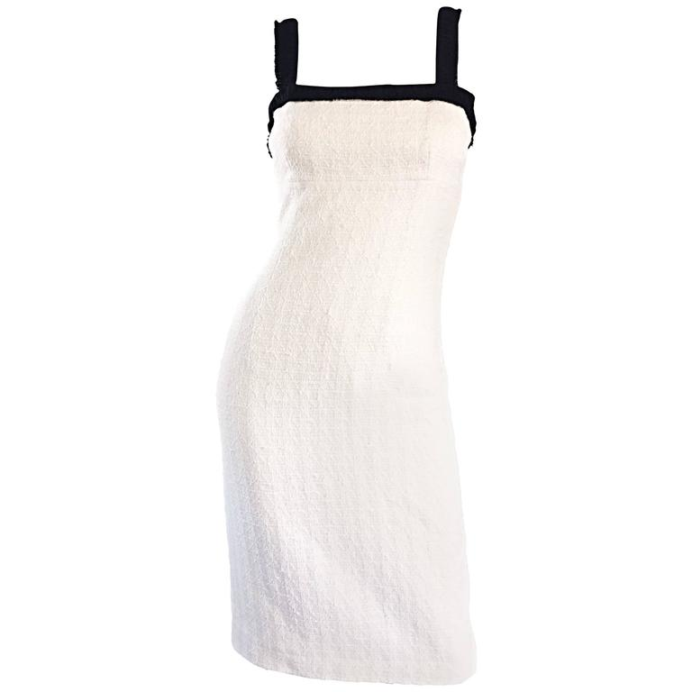 Michael Kors Collection White and Black Textured Cotton + Silk Signature Dress 1