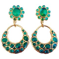 VINTAGE ✿*゚ Chanel Pâte de verre Gripoix Glass OVERSIZED Emerald Green Earrings