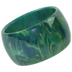 Bakelite Bracelet Bangle bluemoon marble