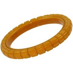 Bakelite Carved Bracelet Bangle butterscotch color