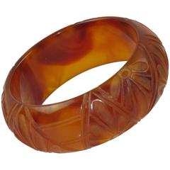 Bakelite Carved Bracelet Bangle rootbeer & amber marble