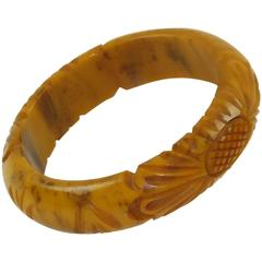 Bakelite Carved Bracelet Bangle banana brown marble