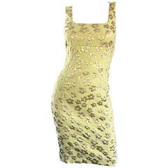 New Michael Kors Collection Mint Green + Gold Silk Plisse Flower Dress Size 2