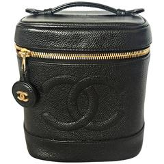 Vintage CHANEL black caviarskin cosmetic and toiletry mini bag, party vanity bag