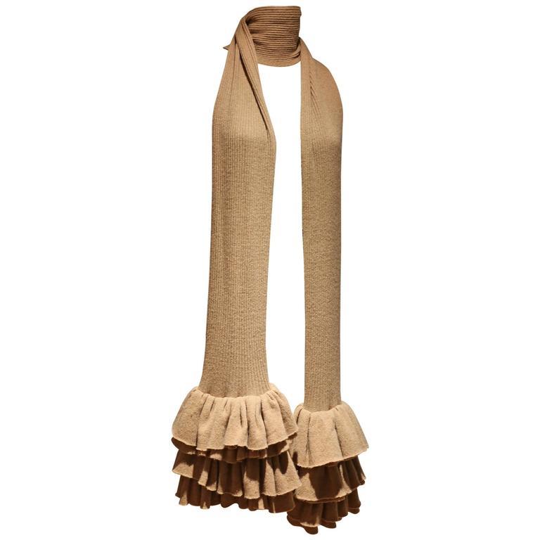 Preen camel ruffled rib knit extra long scarf, c. 1990s