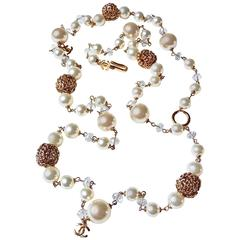 Chanel ✿*゚ Luscious LARGE CREAMY Glass Pearls Gold Nugget Crystals Necklace