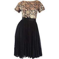 1950s Elliette Lewis Gold + Silver + Bronze Silk Brocade Vintage Chiffon Dress
