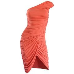 Michael Kors Collection Coral Jersey Ruched Grecian One Shoulder Toga Dress
