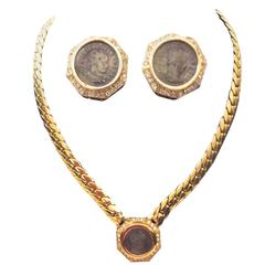 Vintage 1970's Ciner Coin Necklace and Earring Set