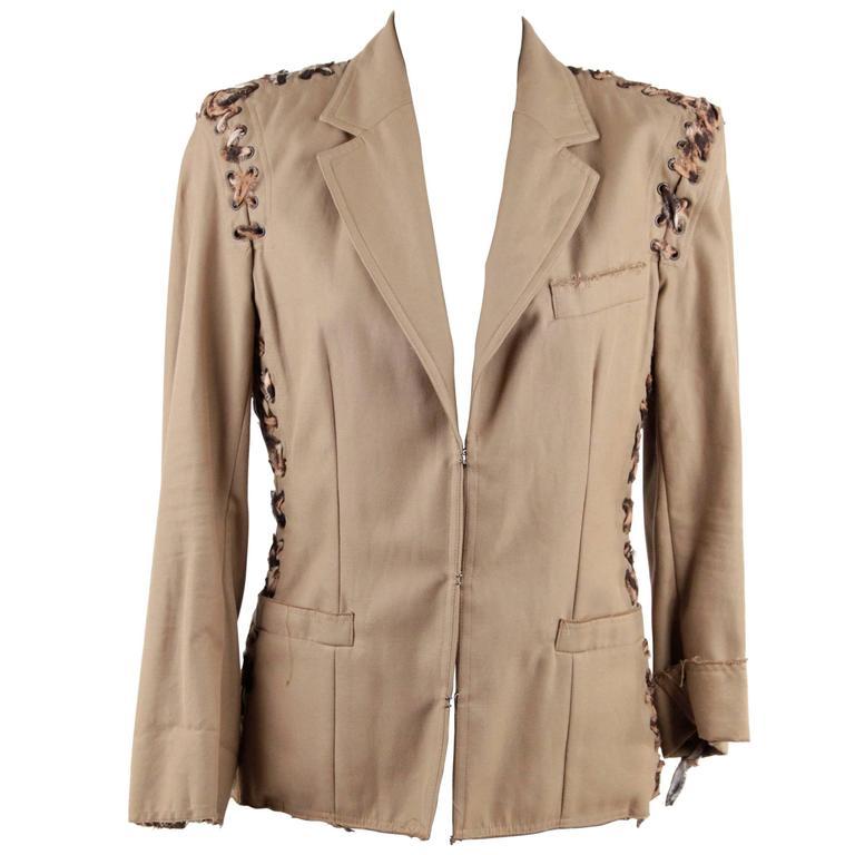 YVES SAINT LAURENT RIVE GAUCHE Tan Animal Print Lace Up BLAZER Jacket SIZE 36