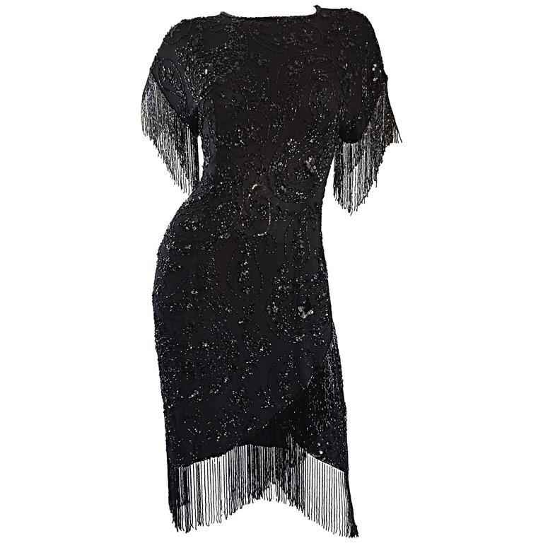4d8c2fc6 Exquisite Vintage Oleg Cassini ' Flapper ' Sz 10 Black Silk Beaded Sequin  Dress ...