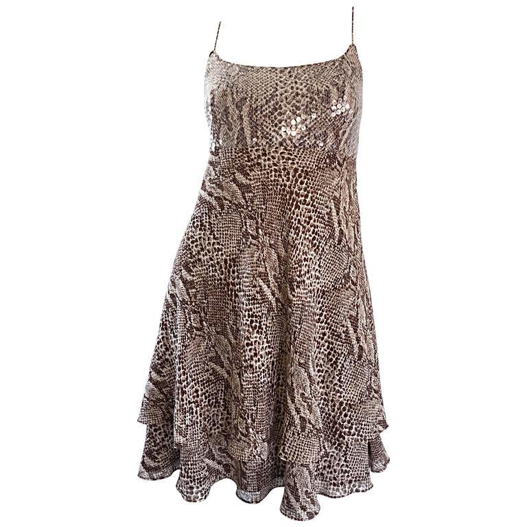 1990s Lillie Rubin Silk Chiffon Sequin Snakeskin Print Vintage Babydoll Dress