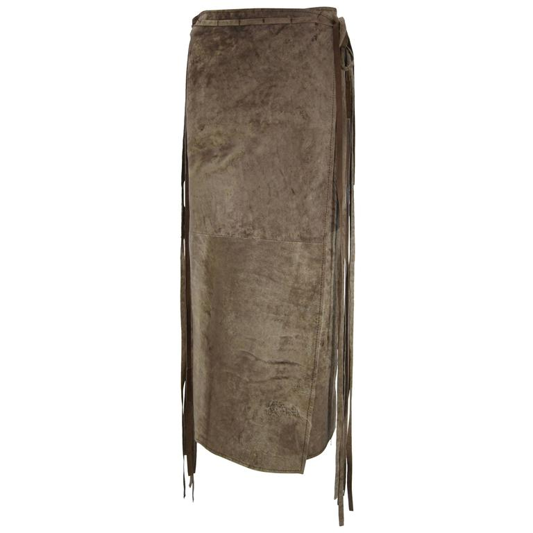 Ann Demeulemeester Distressed Weathered Leather Wrap Skirt For Sale