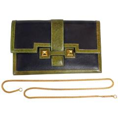 Hermès Black and Green Leather Clutch with chain strap