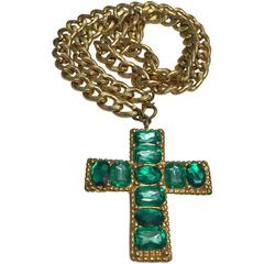 1980s Chunky Emerald Green Jeweled Cross on Gold-Tone Chain.