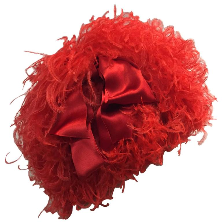 1960s Trébor Coral Red Curled Ostrich Feather Cocktail Hat