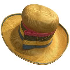 1960s Schiaparelli Yellow Straw Brimmed Hat w/ Striped Straw Band