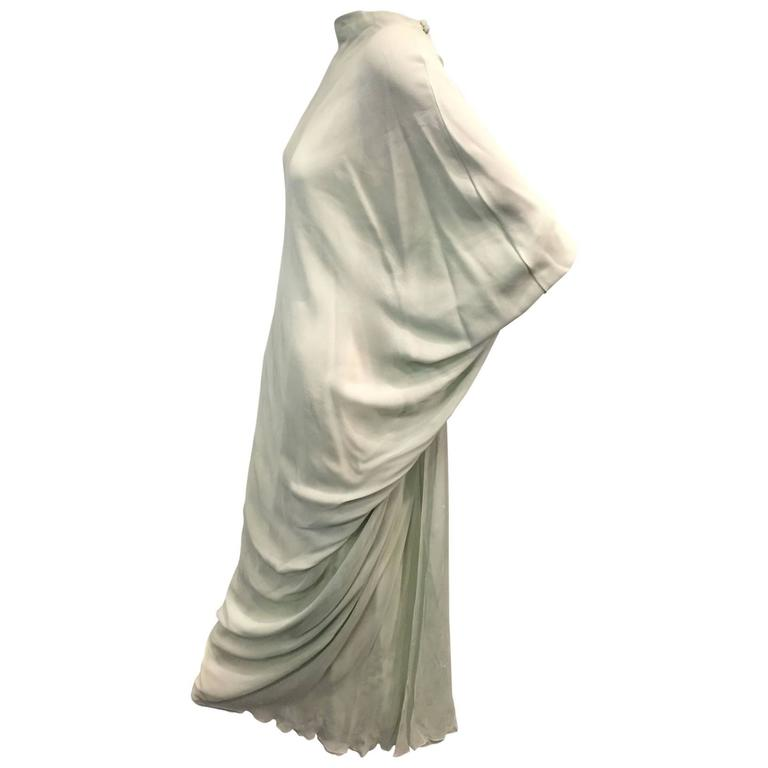 1960s Stavropoulos Seafoam Green 6-Layered Silk Chiffon Goddess Gown