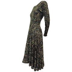 "1970s Missoni ""Ballet"" Style Jersey Knit Dress w/ Abstract Skyscraper Print"