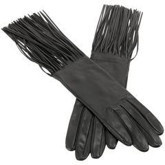 Hermès Black Lambskin Long Fringed Gloves- size 7.5