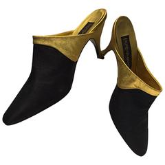 1990s Donna Karan Gilt Leather and Black Shantung Stiletto Mule